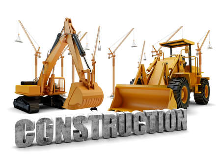 Construction background with bulldozer and loader photo