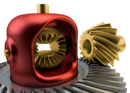 Closeup Differential gear isolated on white background Stock Photo