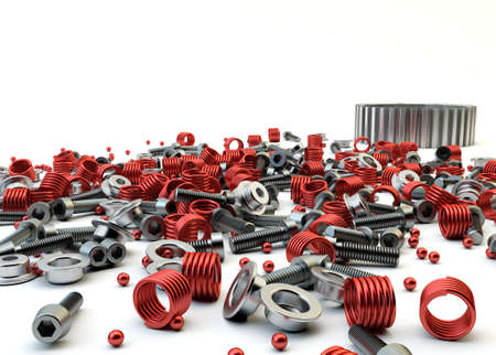 Closeup Pile of nuts and bolts from disassembled clutch isolated on white Stock Photo