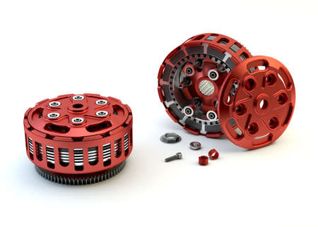 Motobike Clutch parts disassembled isolated on white background Stock Photo - 20776935
