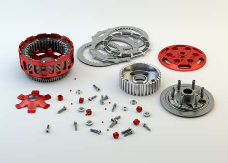 Clutch parts disassembled isolated on white background Stock Photo