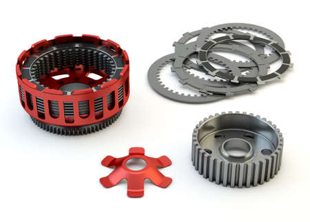 motorcycle repair shop: Clutch parts disassembled isolated on white background Stock Photo