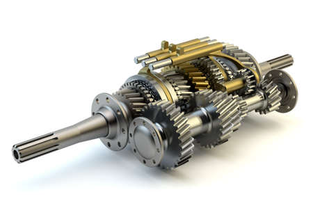 spare car: Speed gearbox on isolated background