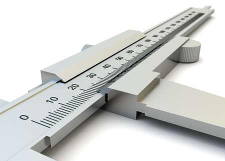 Vernier caliper closeup isolated on white background