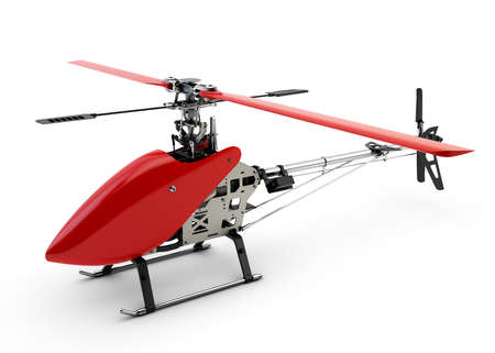 Generic red remote controlled helicopter isolated on white background