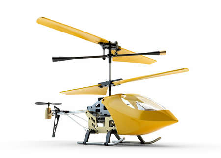 controlled: Generic yellow remote controlled helicopter isolated on white background