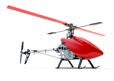 Generic red remote controlled helicopter isolated on white background Stock Photo - 23300218