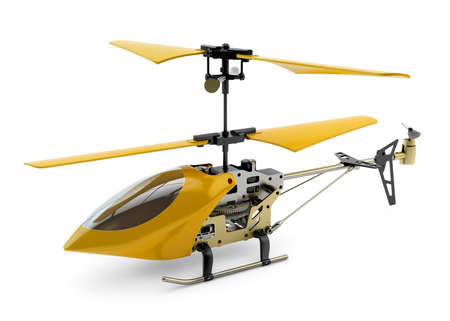 Generic yellow remote controlled helicopter isolated on white background Stock Photo - 23300219