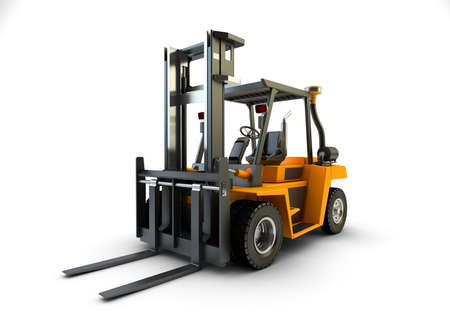 sidelight: Forklift Lift truck isolated on white background Stock Photo