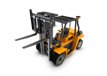 Forklift Lift truck isolated on white background Stock Photo