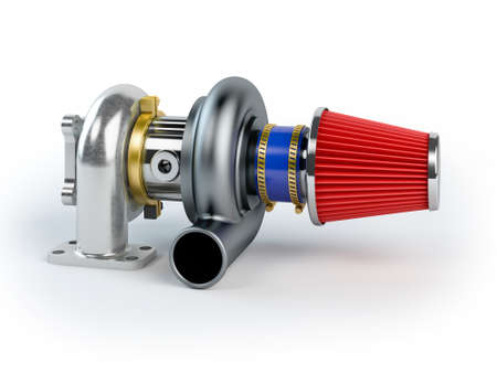 Assembled turbocharger sistem with air filter isolated on white background