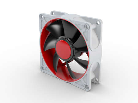 ventilate: Computer performance cooling fan isolated on white background