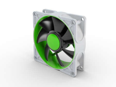 Computer performance cooling fan isolated on white background