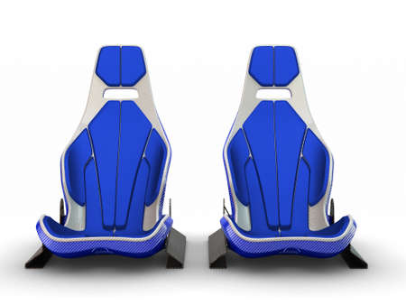 Two Racing leather carbon fiber seats isolated on white background