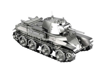 drab: Scale model of a silver german tank toy from WWII isolated on white
