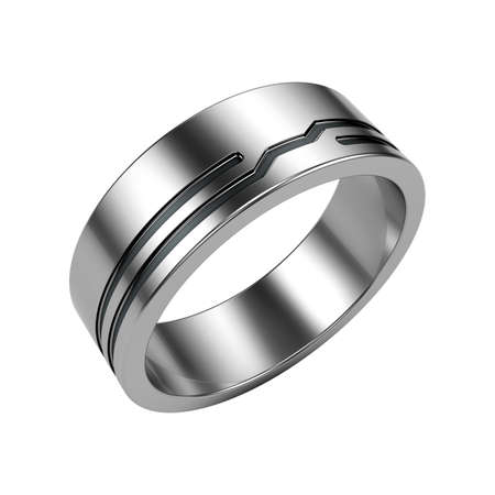 Silver ring isolated on white Stock Photo