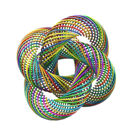 Abstract colorful layered torus isloated on white