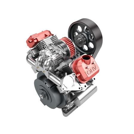 Assembled V2 engine of large powerful motorbike isolated on white