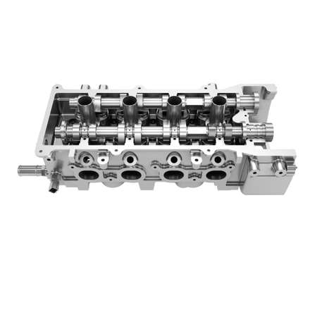 Car engine cylinder head isolated on white background Stock Photo