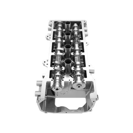 Car engine cylinder head isolated on white background Stock Photo