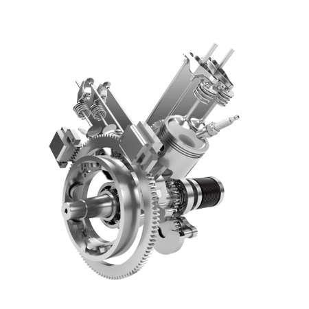 Disassembled V2 engine of large powerful motorbike isolated on white