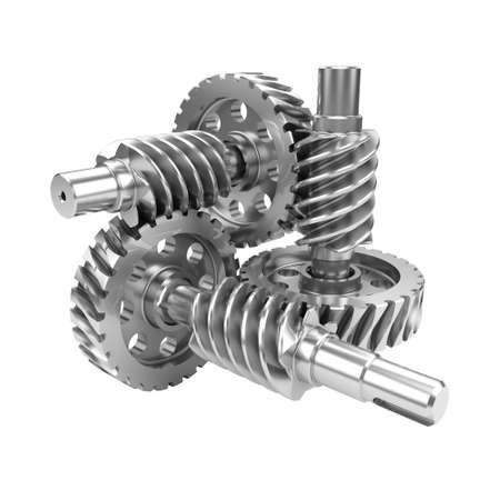 worm gear: Gear worn wheels isolated on white background