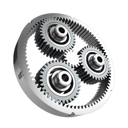 Planetary reducer from metallic gear on white background