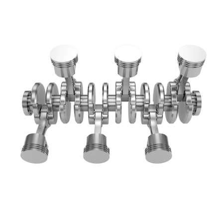 pistones: Pistones del motor V6 aislados en blanco