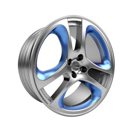 Polished chrome car rim wheel on white photo