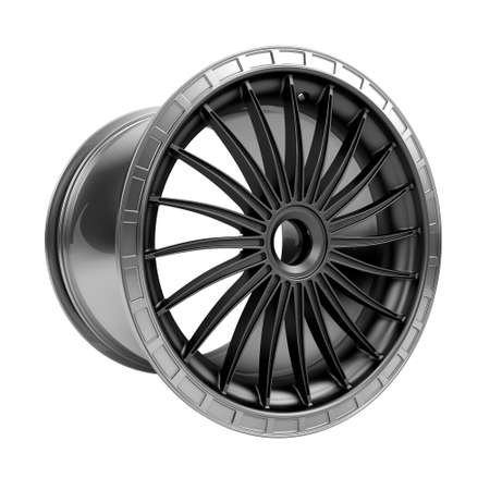 motosport: Polished chrome car rim wheel on white