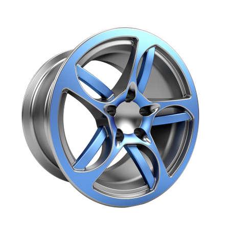Polished chrome car rim wheel on white