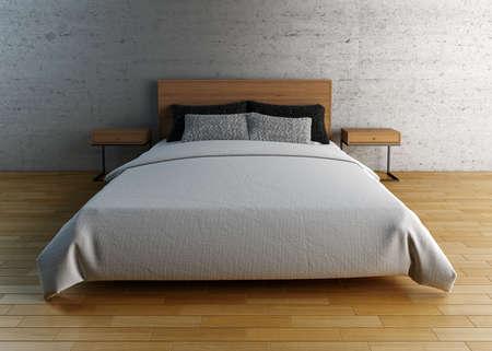 Leeg bed met kussens en lakens met studio verlichting setup