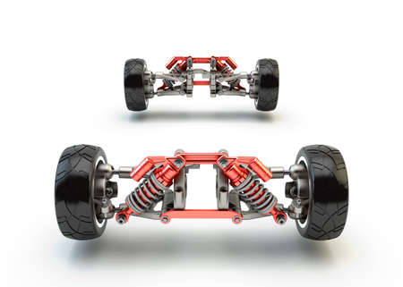 axle: Front axle with suspension and sport gas absorbers isolated on white Stock Photo