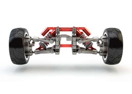 piezas coche: Eje delantero con amortiguadores de suspensión y gases de deporte aislado en blanco