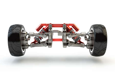 Front axle with suspension and sport gas absorbers isolated on white Stock Photo
