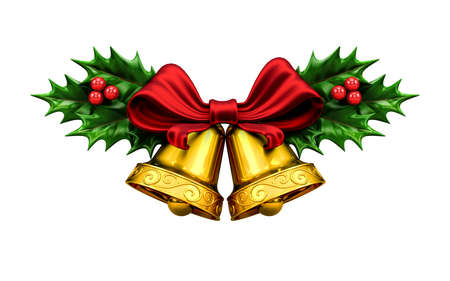 Golden bells with Christmas tree and red ribbon, berries and leafs. Stock Photo