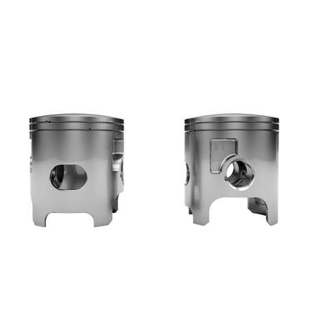 Two chrome disassembled polished pistons isolated on white