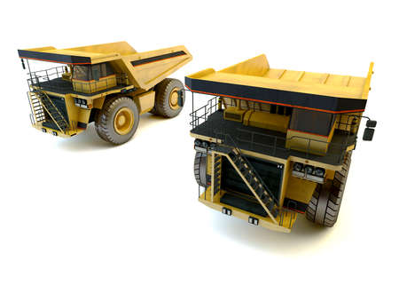 Two dumper industrial trucks isolated at the white background