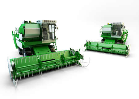 Two Green agricultural combine-harvesters isolated on white Stock Photo