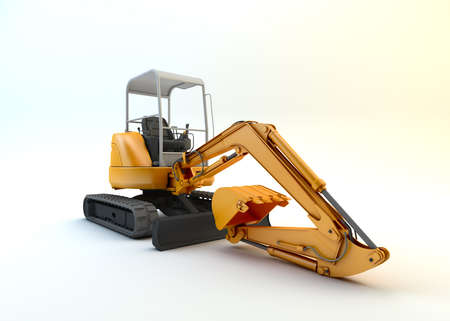 Yellow mini excavator isolated on white background