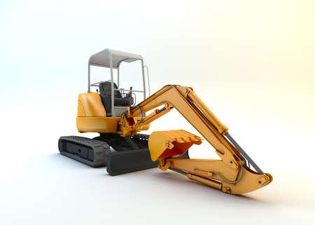 Yellow mini excavator isolated on white background