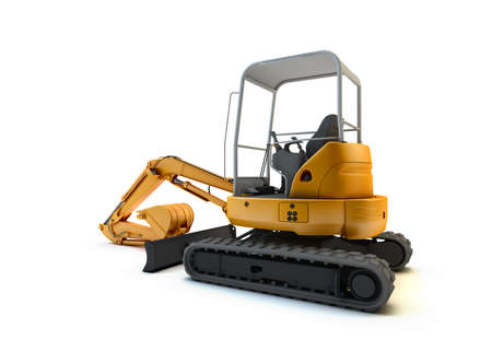 excavator: Yellow mini excavator isolated on white background
