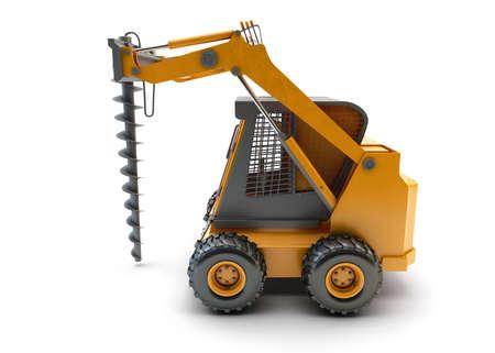 front loader: Pequeño vehículo utilitario de la construcción aislado en blanco Foto de archivo