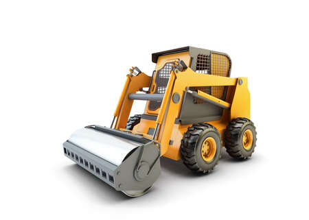 wheel loader: Small construction utility vehicle isolated on white