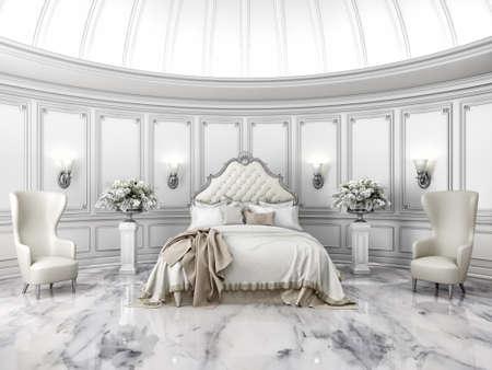 クラシック スタイルのインテリア ベッドルームの高級ヴィラでのラウンドします。