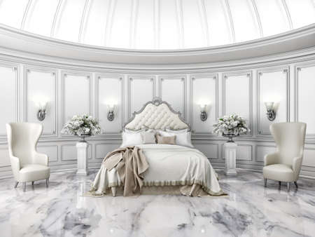 Interior of a classic style round bedroom in luxury villa Banco de Imagens