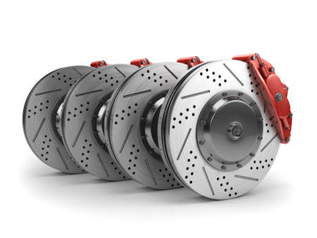 Brake Discs and Red Callipers from a Racing Car isolated on white - 3d render Stock Photo