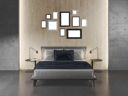 Modern Bedroom with concrete floor and walls. Mock up frames. Wooden Wall. 3D Render.