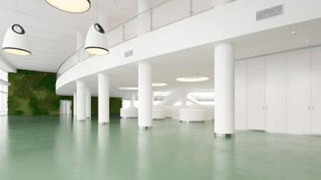 Large spacious office with greenwall illuminated by natural light from windows Stock fotó