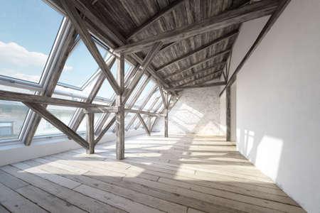 Scandinavian attic interior with wooden beam roof construction and wooden floor Stock fotó